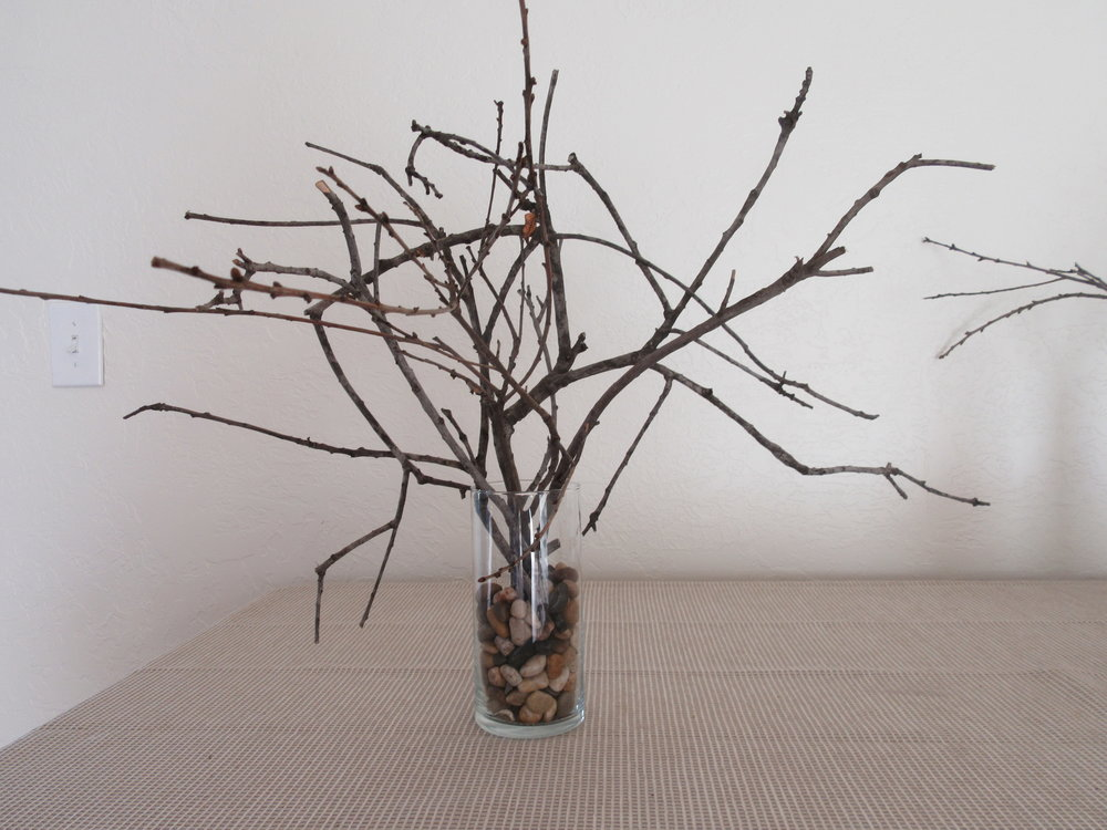 A TWIG BOUQUET from the downed limbs of Baba's Tree. (Margaret Magnus, September 2018)