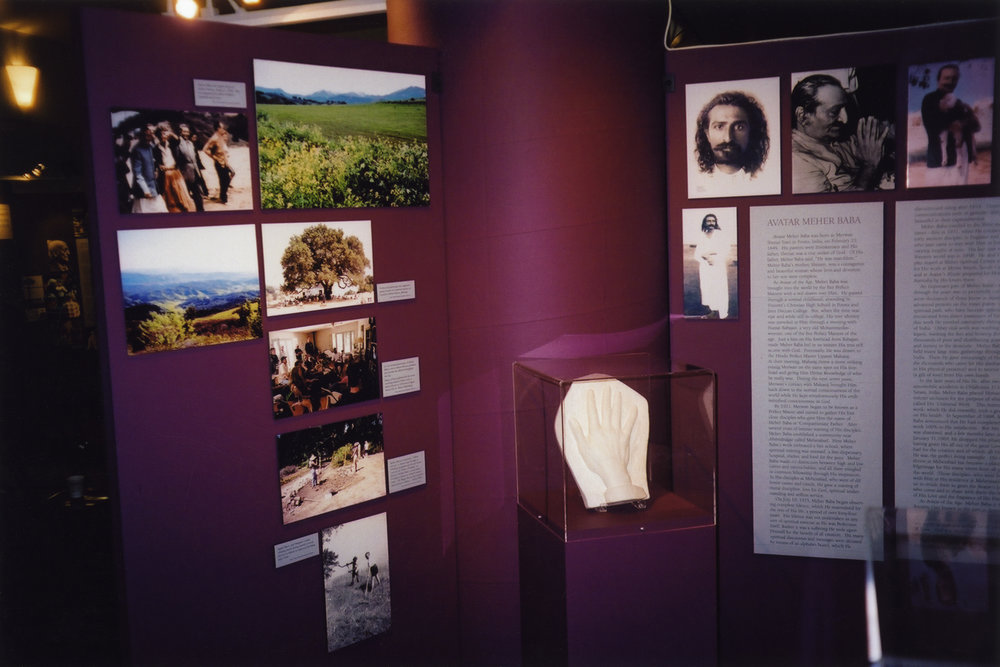 """""""THE ESSENCE OF OJAI"""" exhibit at the Ojai Valley Museum in 2003 featured Meher Mount along with four other spiritual centers in the area. The relevant pieces of this exhibit were later installed at Meher Mount to help orient visitors. (Photo: Sam Ervin, 2003)"""