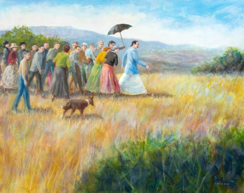 AVATAR MEHER BABA walking in the meadow from Baba's Tree at Meher Mount on August 2, 1956. Painted specifically for Meher Mount and donated by Charles Mills in 2018.