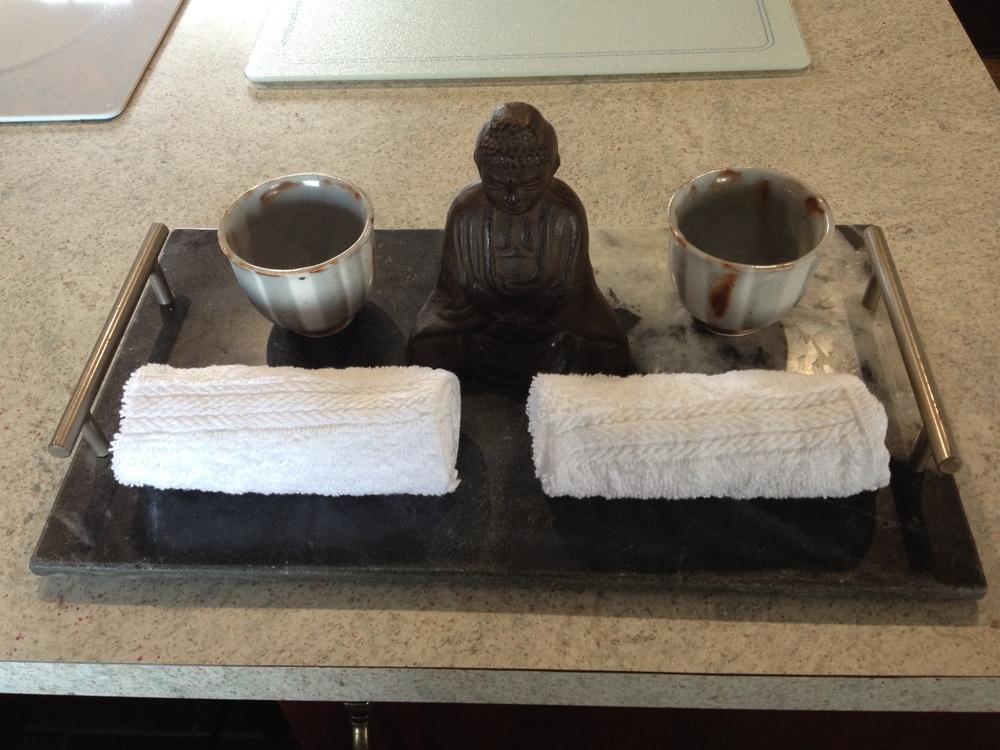 Welcome tea and moist towel