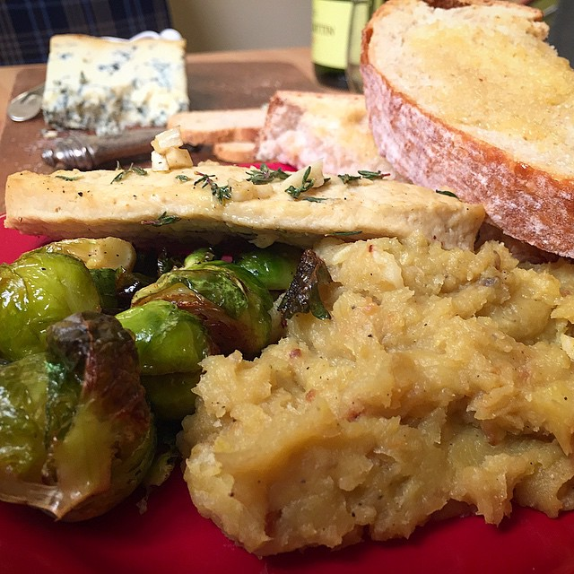 Roasted brussels, roasted yam mash, toasted sourdough, garlic & thyme cutlet and a bottle of white.