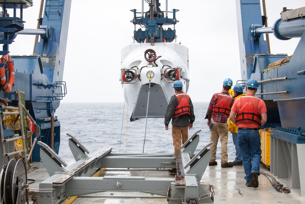 Alvin from behind during retrieval after a successful dive. The sub is hanging in the A-frame of the R/V Atlantis, its home ship.