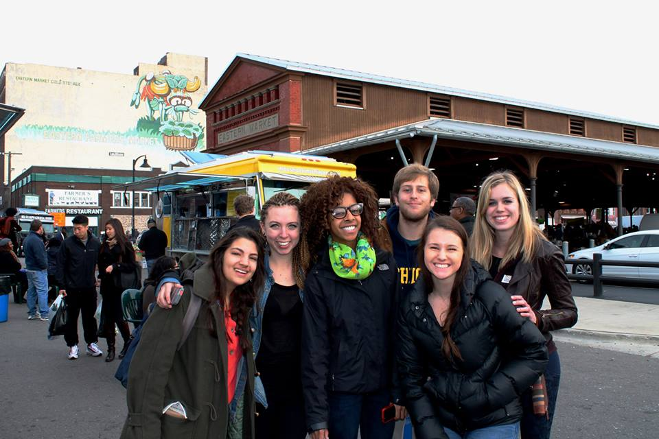 SiD students at Eastern Market checking out some good food!