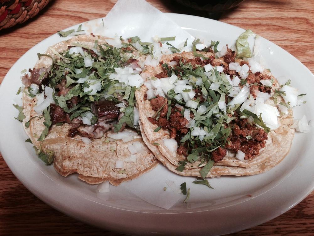 Nuestra Familia Tacos-Carnitas and Chorizo.JPG