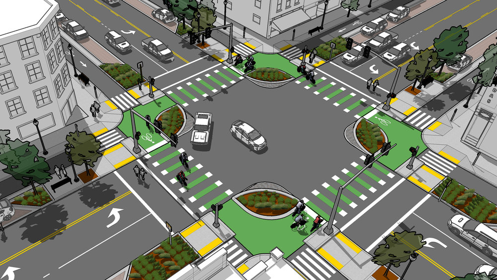 Above: Example of a Protected Intersection from an unknown city in the U.S. What is a protected intersection?  Click here  to find out.