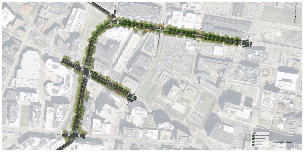 Binney/Galileo/Broadway Streetscape Design Area
