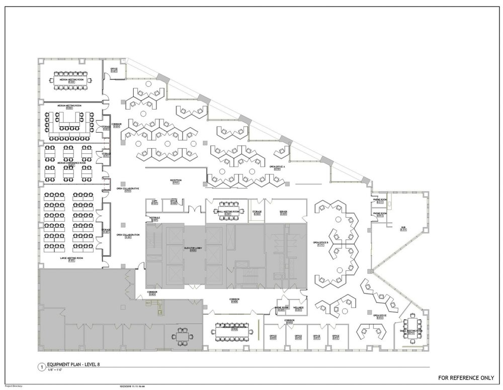 """Opportunity Space Floor Plan for 255 Main Street, 8th Floor; showing classrooms and meeting rooms that may also function as event spaces, small offices, and """"neighborhoods"""" of cubicles."""