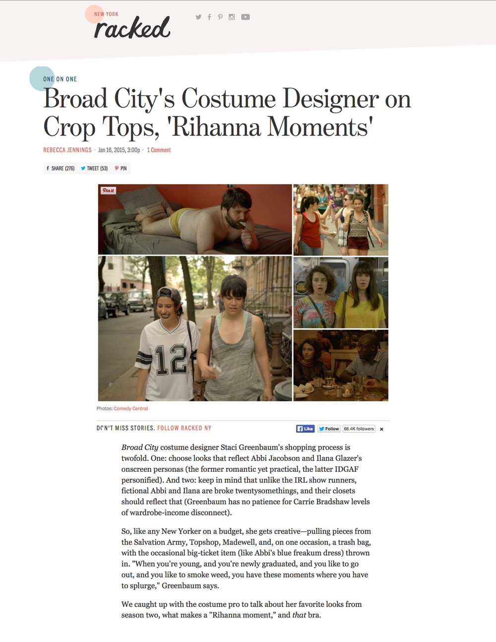 NY RACKED    BROAD CITY'S COSTUME DESIGNER ON CROP TOPS, 'RIHANNA MOMENTS'    JANUARY 2015