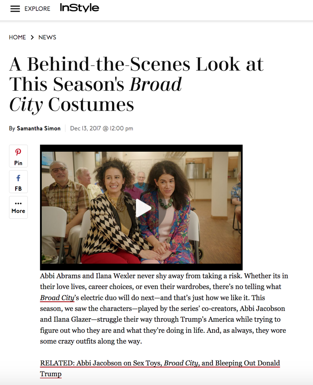 INSTYLE.COM    BEHIND THE SCENES LOOK AT THIS SEASON'S BROAD CITY COSTUMES    DECEMBER 2017