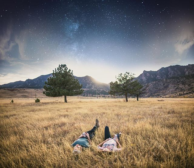 head in the grass, watching the world spin. here's a composite from the shoot worked on for @budweiser, in the foothills of the rockies. took a long exposure three hours later to blend the sky into night. #space #thisbudsforyou