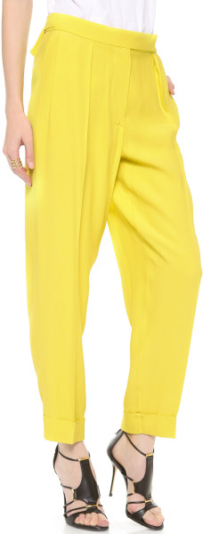Cedric Charlier Crinkled Wide Leg Pant in Jaune.