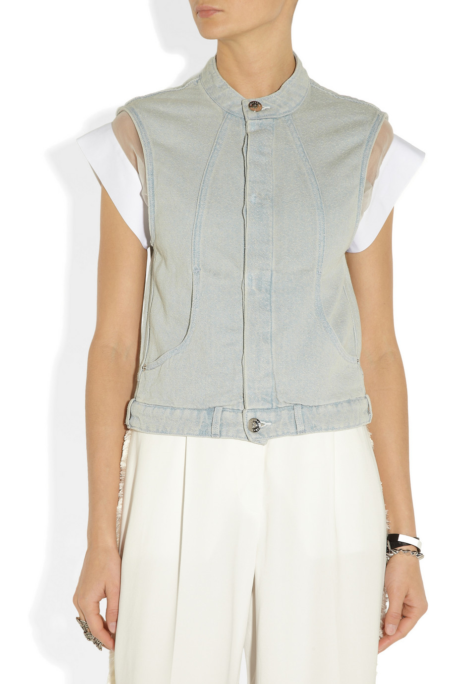 Theyskens' Theory Jagger textured linen and cotton-blend vest.