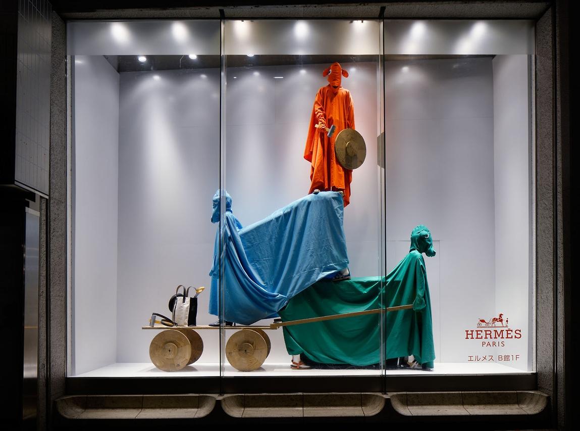 Hermès installation by Olaf Breuning in Tokyo's Shibuya Seibu district.