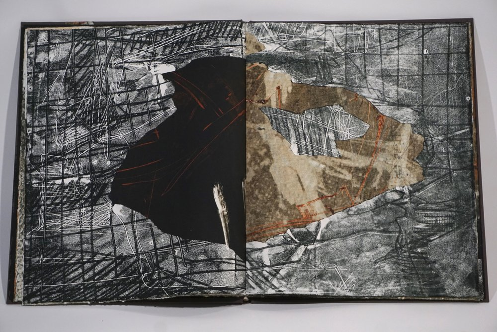 Inside page from Fog Frac/Tured Pangea. Case bound book of monotypes and poetry