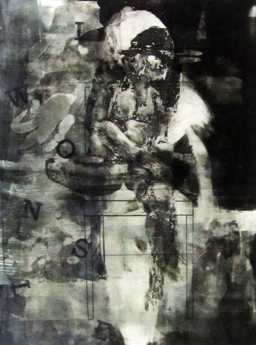 Liz McCall  Monoprint with etching and screenprinting  Directed Study 1