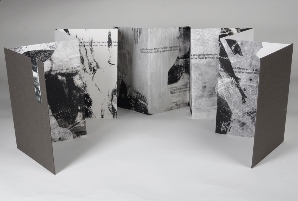 "Fragments  Accordion book   12 panels  10"" x 7"" closed, 10"" x 84"" open  Monotype with letterpress"