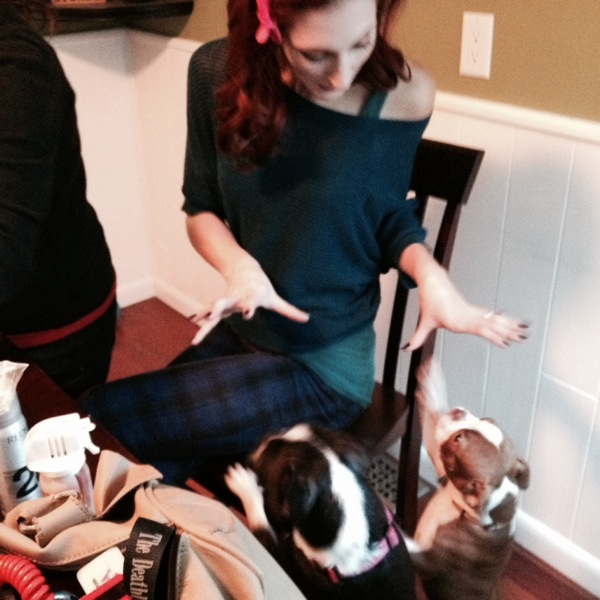playing with Bentley and Stella during hair and makeup