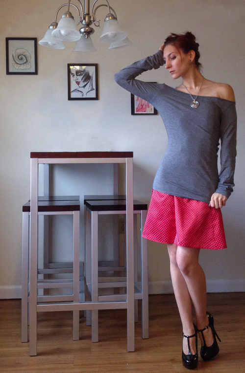 For a more casual look, but a pop of color, I threw a neutral colored, boat neck, long sleeve shirt over the dress. I liked this look because it's comfortable and casual, but still very cute with a pair of heels or pointed ballet flats.