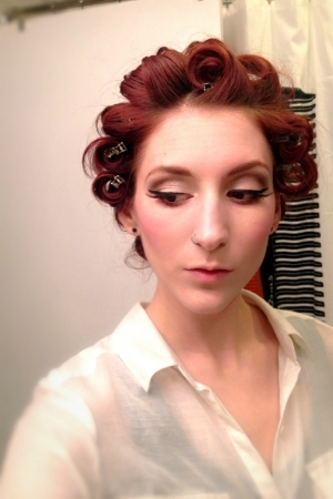 The only way my hair will stay curly for long...lots of pins and clips!