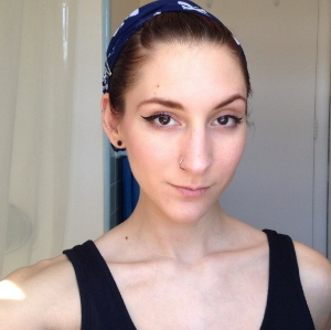 Basic makeup look with a cat eye (my headband is falling off as the pictures progress)
