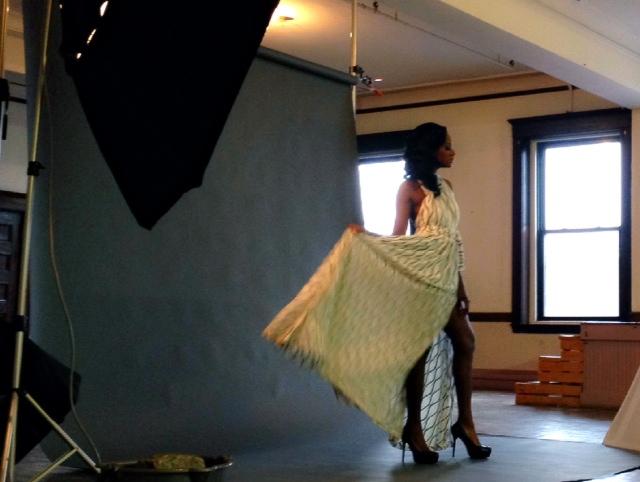 Behind the scenes snapshot of model Cassandra Elie