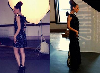 Mid-pose in 2 fabulous Drea Designs Couture dresses