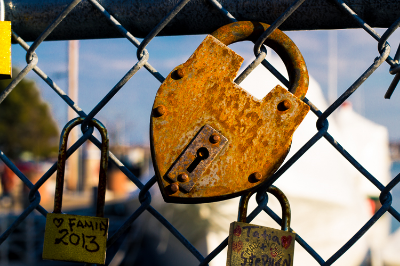 """Close up of my favorite lock on the gate of """"Love Locks"""""""