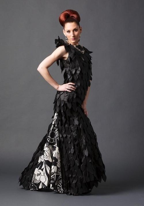 Drea Designs Couture Black Leave gown
