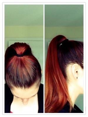Put hair in a high ponytail