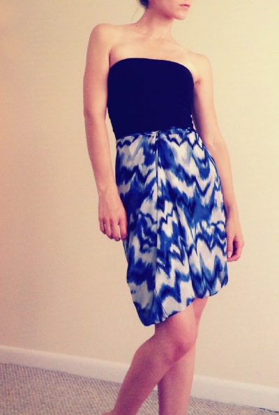 Maxi-dress with the skirt pinned at the waist to create a knee-length look