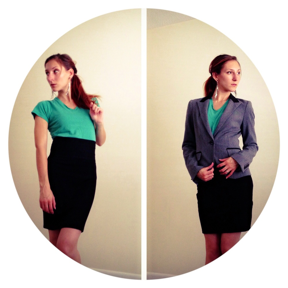 T-shirt and skirt before and after suit jacket. Office ready vs CEO ready