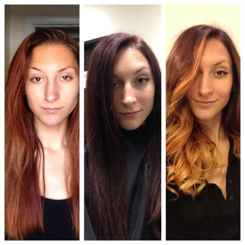 Before, during, and after the ombréprocess- It was a shock to see myself with dark hair for the few minutes I had it after being used to seeing myself with some sort of red tone