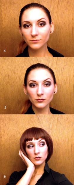Roaring 20s Makeup Steps 4-6: Smoky eye- liner - mascara, blush and red lip, and wig with bangs and bob cut