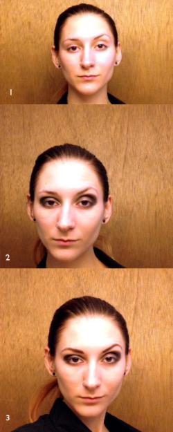 Roaring 20s Makeup Steps 1-3: Foundation, smoky eye, brows