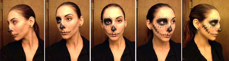 Day of the Dead completed makeup look: Half Sugar Skull, Half Everyday Look