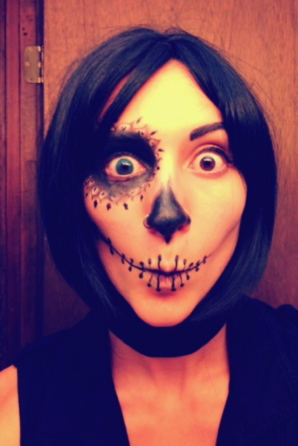 Goofing off in Sugar Skull Costume...the longer I look, the scarier it becomes though...