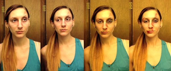 Fight Club makeup steps for a post-fight look