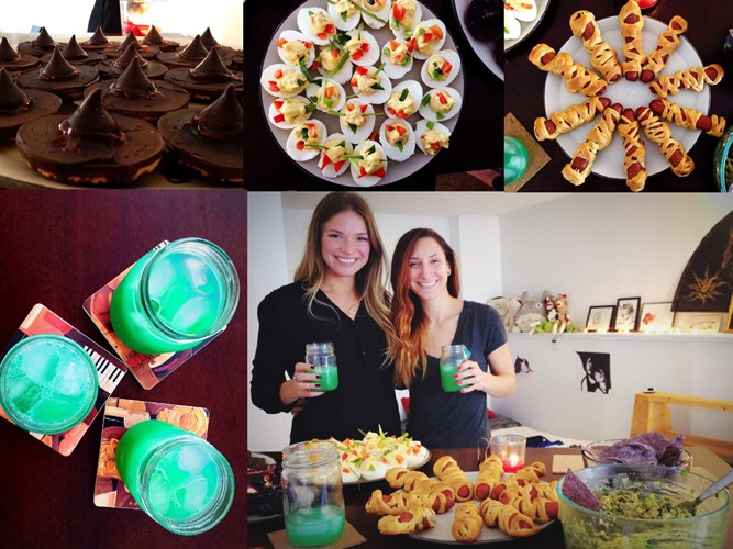 Treat after Treat! Witches Hats, Devilish Deviled Eggs, Halloweenie Mummy Dogs, Toxic Wasted, and the blog masters Lauren and Myself