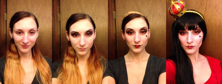 Makeup steps for the Red Queen Costume