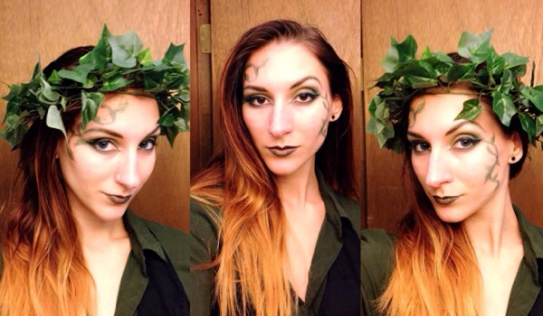 Modern Poison Ivy completed makeup with contacts
