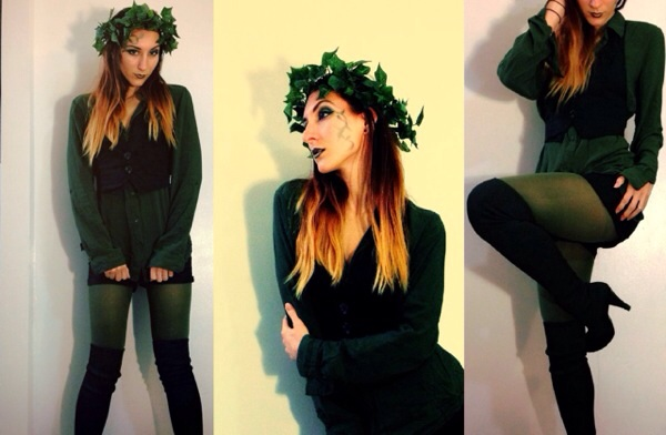 Modern Poison Ivy costume - green leggings and a green button-up shirt with black shorts, a black vest, and black knee high, high-heeled-boots