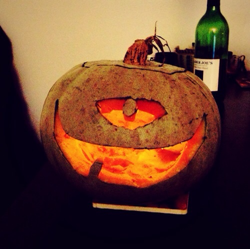 Adorable Halloween pumpkin A.M. carved after dinner