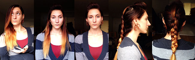 Steps to create a French Braid Faux Hawk  (I think more volume or texture in your hair would help it look like more than just an interesting braid-like mine did)
