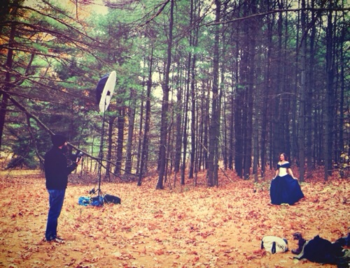Behind the scenes shot of Billy and I setting up for our Alice-esque shoot