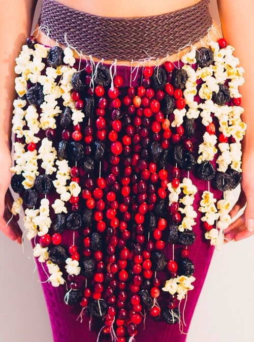 Challenge: Food skirt (Cranberry, popcorn, and dried prunes-a good use for dried fruit you don't want anymore)