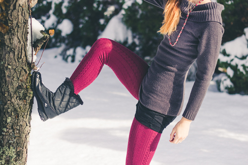 Showing off my new cranberry colored cable knit leggings