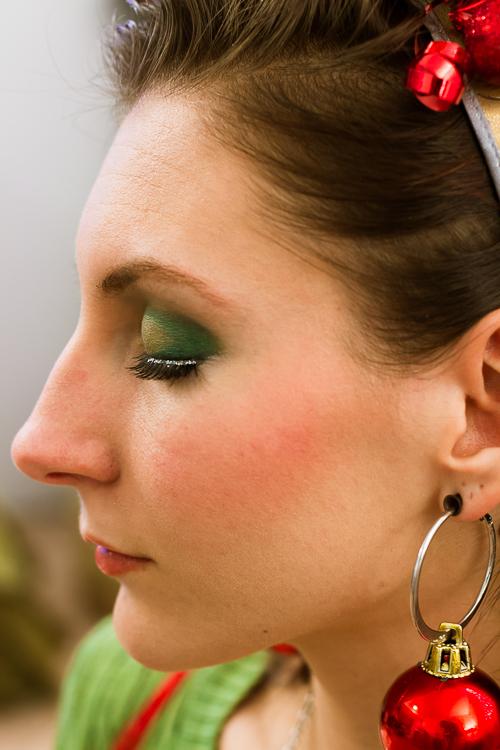 Ugly Christmas Sweater makeup-aka: green makeup andGlitter eyelashes