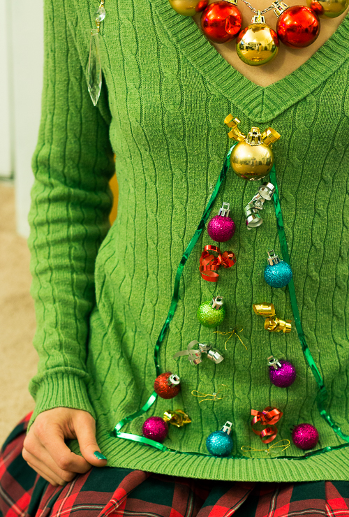 Ugly Christmas Sweater- Tree with glitter ornaments
