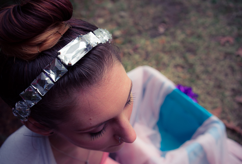 Dazzling headdress made from old costume jewelry, a cheap headband, and my trusty hot glue gun