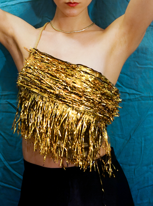 DIY Tinsel Top - there are no directions, just a lot of glue...and time